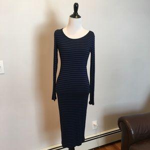 Blue & Black Stripped Bodycon Dress